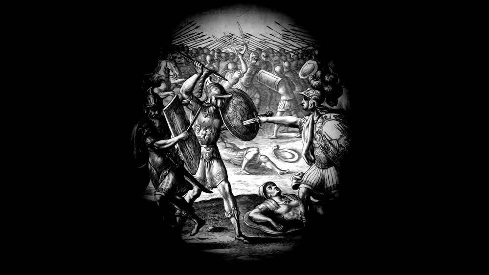 Aeneas fighting with Mezentius and Lausus