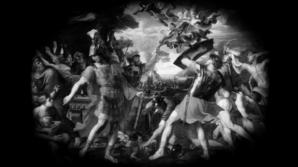 Aeneas and the Trojans fighting the Harpies