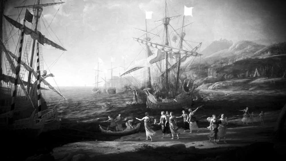 Burning fleet of Aeneas