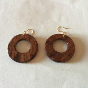 Walnut Wood Round Earrings (20-09)