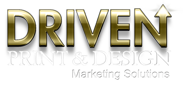 DRIVEN print and design logo white type