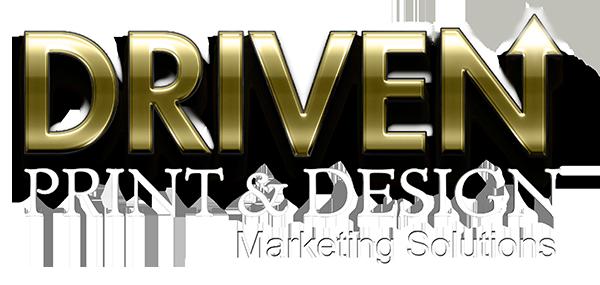 DRIVEN print and design logo white type