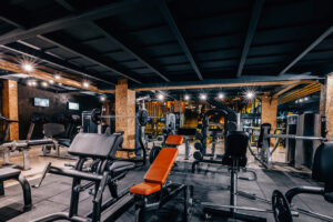 Modern fitness center gym