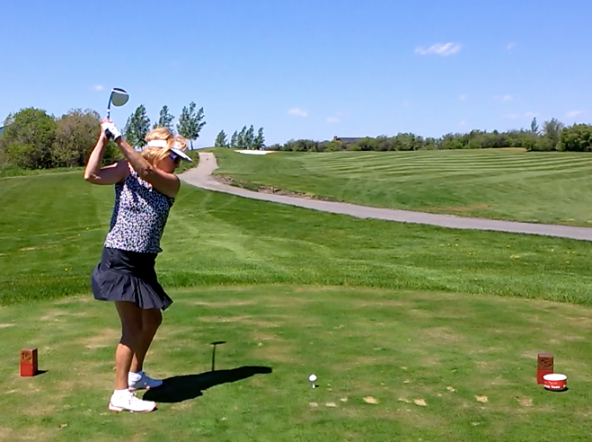 That's me, Maureen O'Shea, golfing in June at