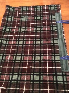 Fleece lining showing where to fasten the ties.