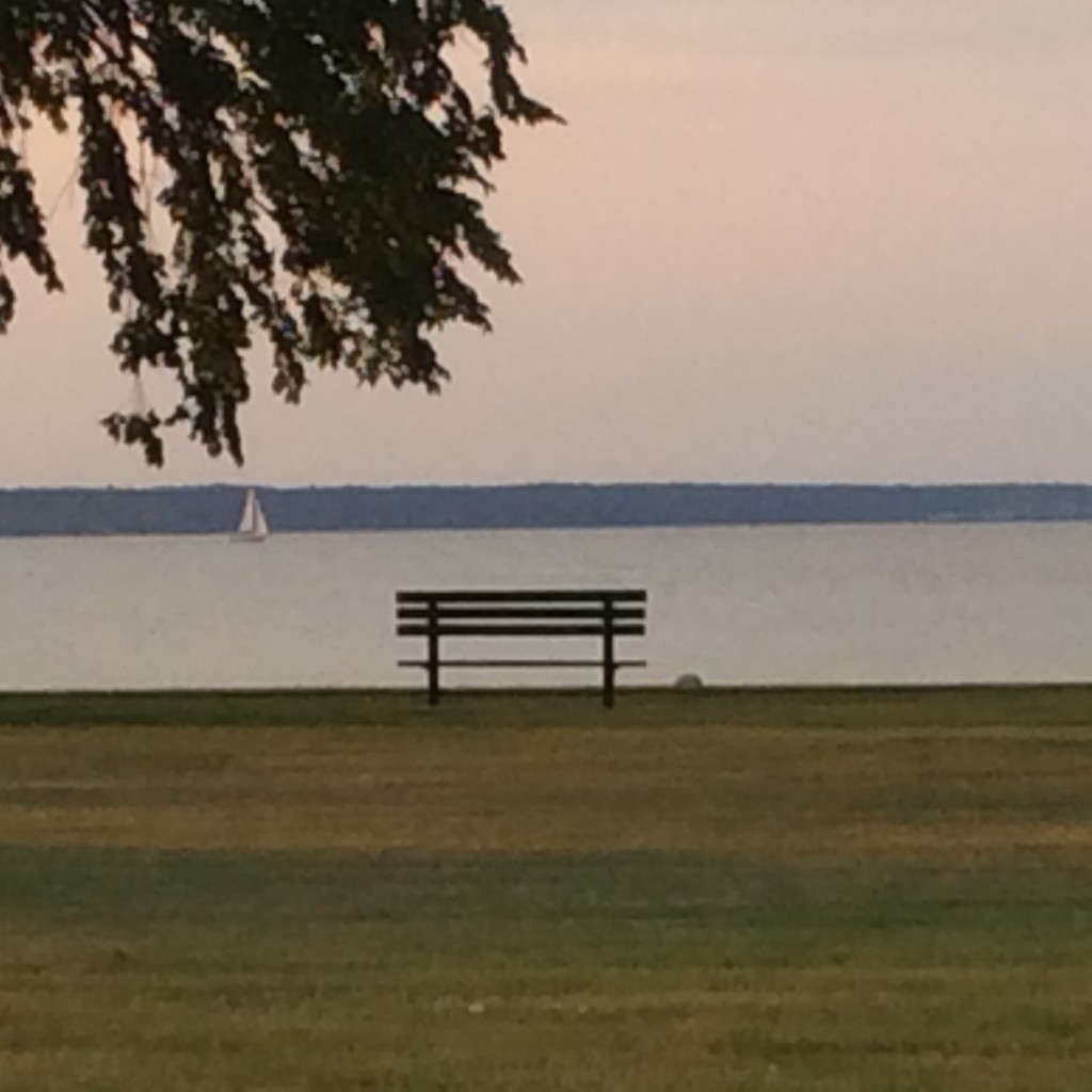 Bench on the beach at Escanaba, MI.