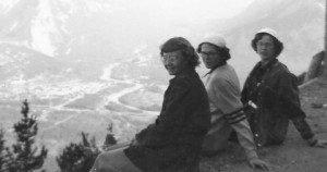 Three Sisters above the town of Banff in 1951