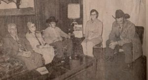 Canadian Western Agribition November 1974 staff working out of a trailer. Alex McTaggart, Mary Jermyn and Maureen O'Shea along with Jack Hockley in charge of stabling and Jerry Ash of the Sask. Livestock Association