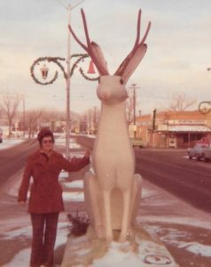 Maureen O'Shea with the Jackalope statue in Douglas, WY on our way to the National Western Stock Show in Denver, CO