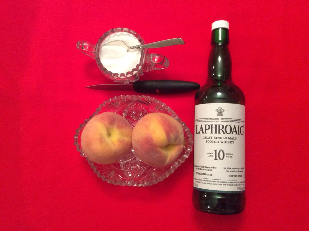 Laphroaig, peaches and a sprinkling of sugar.