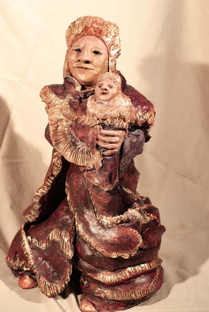 Deep Russet Red Madonna & Child