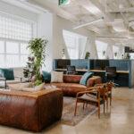Justice HQ DTLA lounge and desk pods