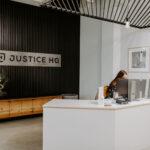 Justice HQ DTLA reception area