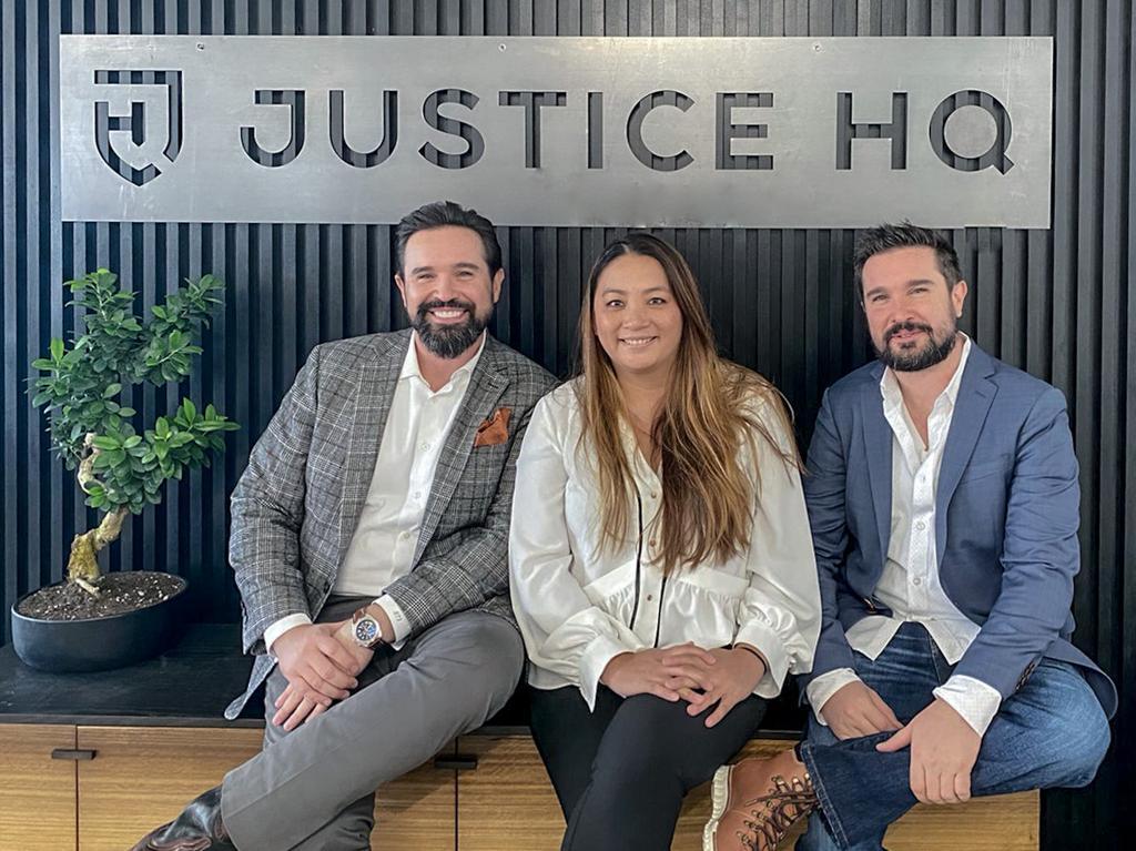 Justice HQ founders, Robert Simon, Brad Simon, and Teresa Diep