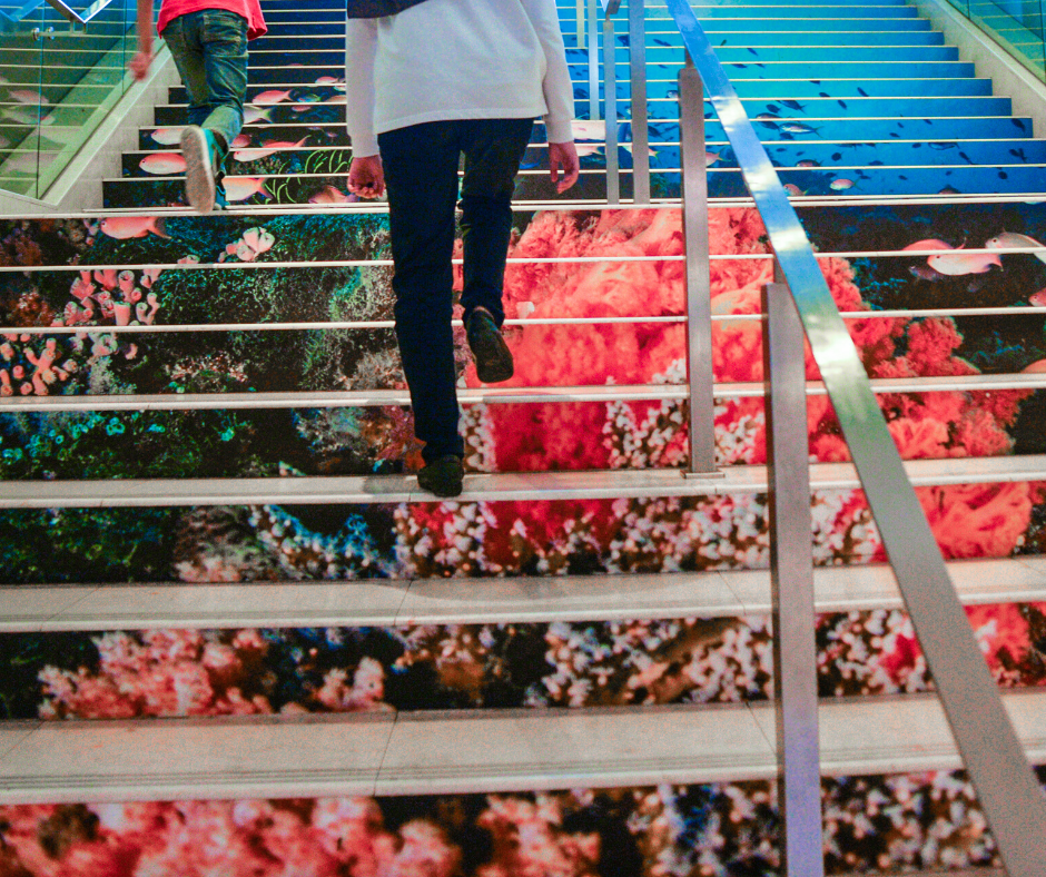 Woman Climbing Stairs for extra movement