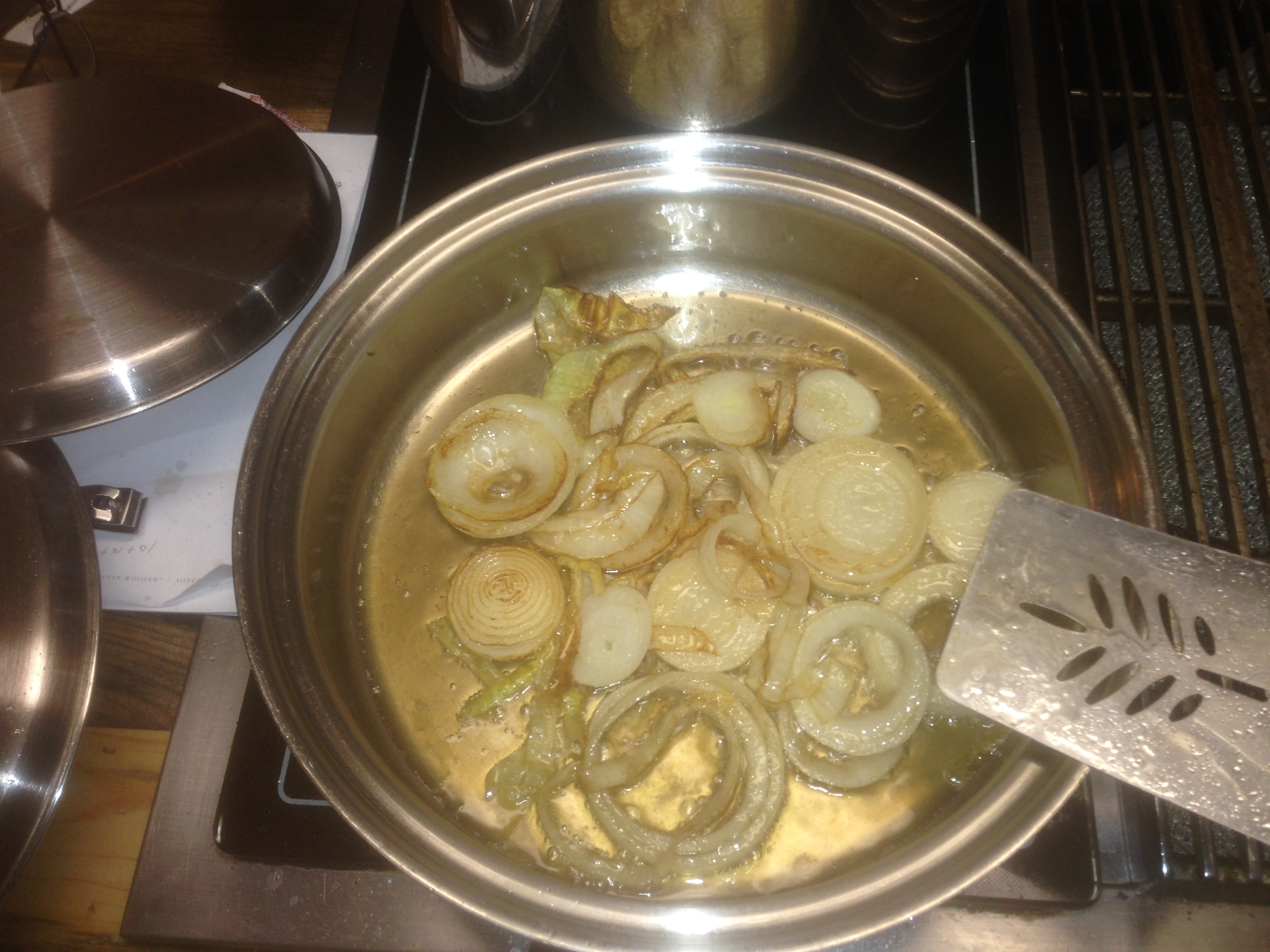 Saute onions until soft and browned a little