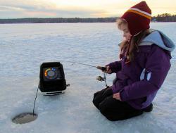 Use a depthfinder while ice fishing