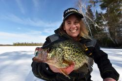 Big crappie caught ice fishing