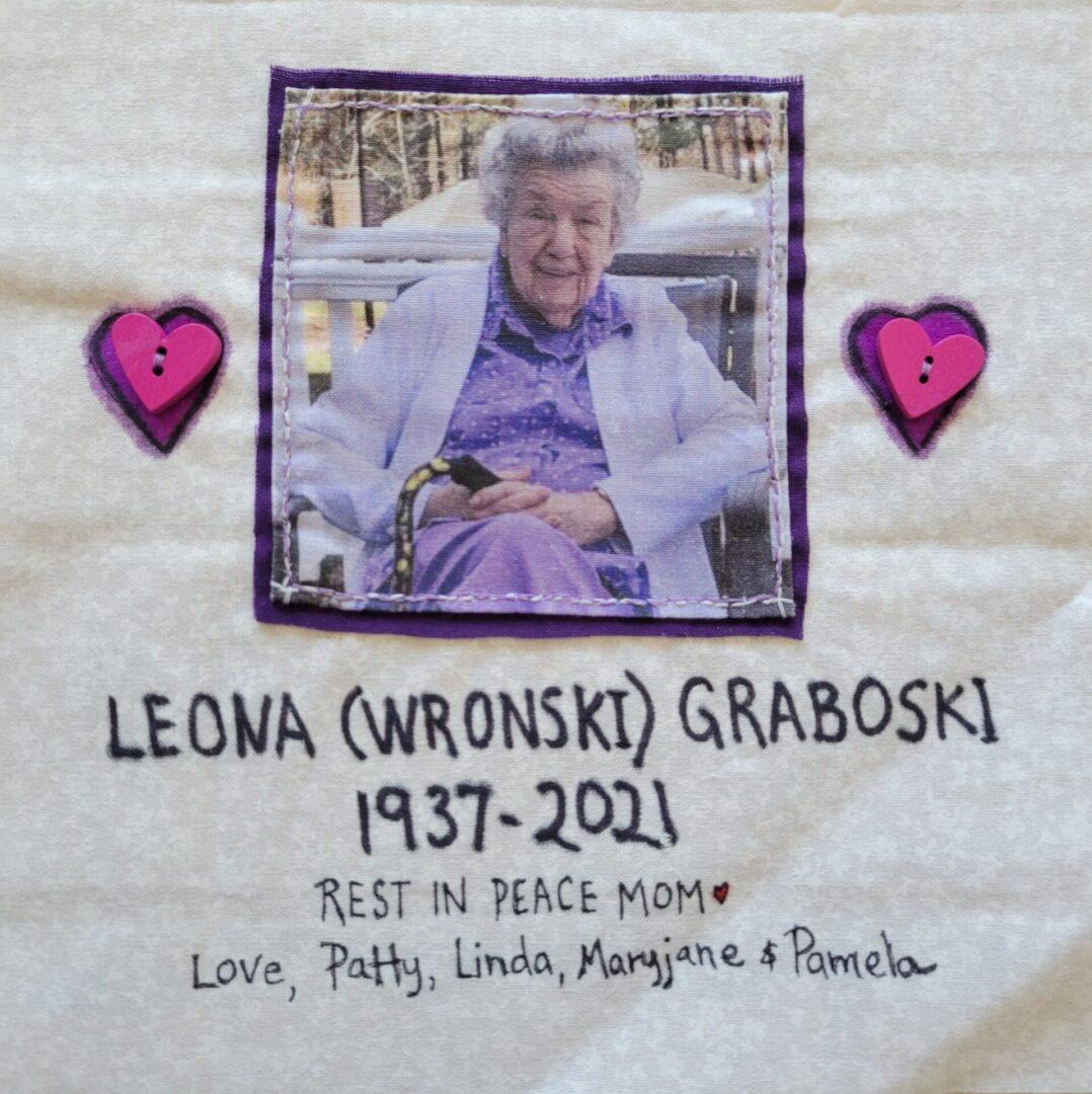 IN MEMORY OF LEONA (WRONSKI) GRABOSKI - 1937 - 2021