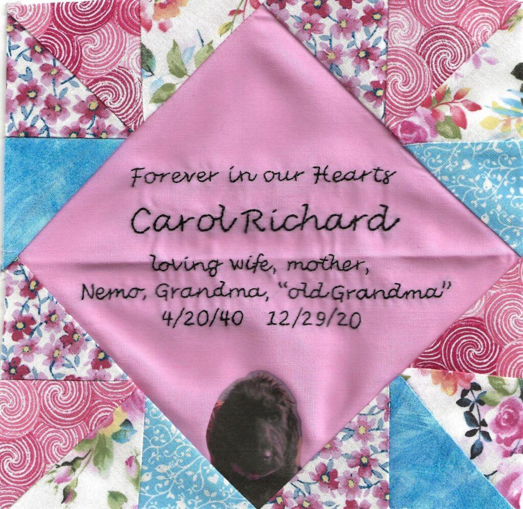 IN MEMORY OF CAROL RICHARD - 4/20/40 - 12/29/20