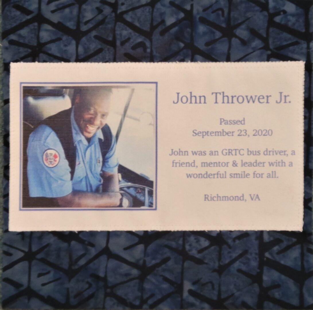 IN MEMORY OF JOHN THROWER, JR. - SEPTEMBER 23, 2020