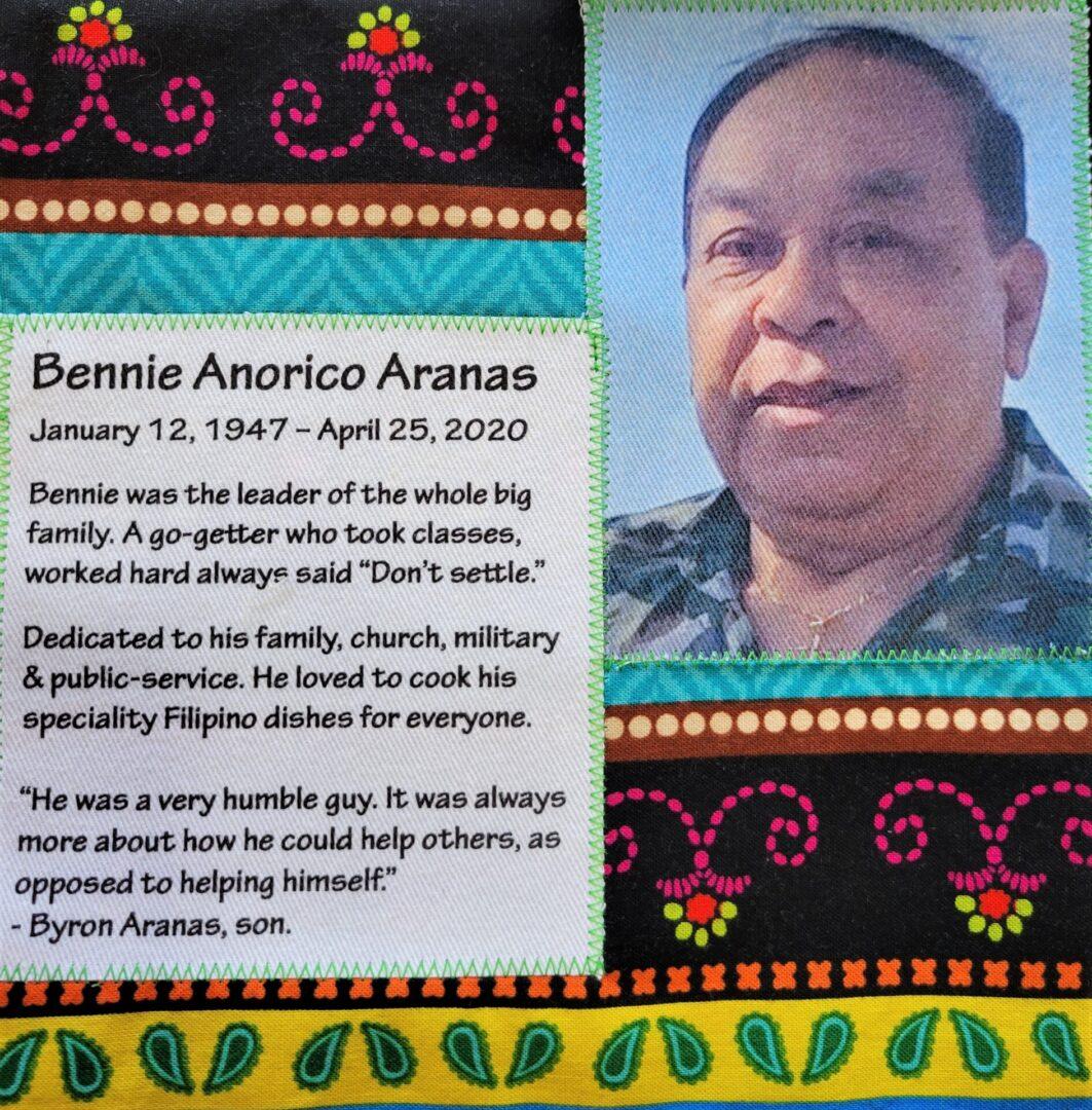 IN MEMORY OF BENNY ANORICO ARANAS - JANUARY 12, 1947 - APRIL 25, 2020