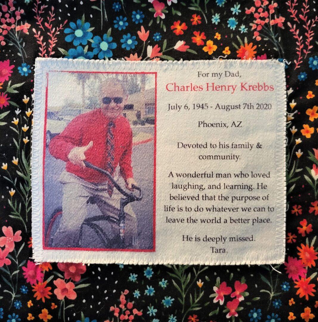 IN MEMORY OF CHARLES HENRY KREBBS - AUGUST 7, 2020