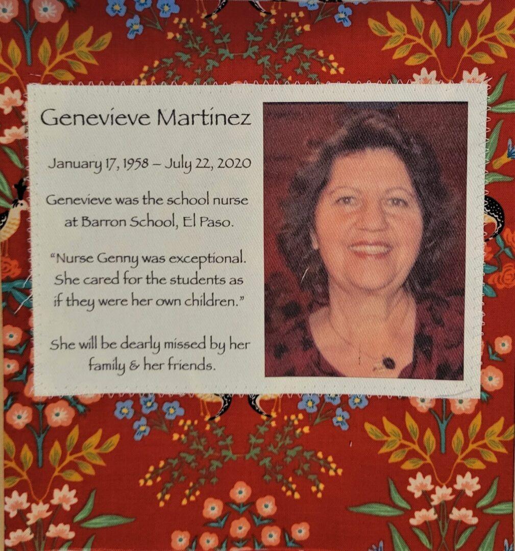 IN MEMORY OF GENEVIEVE MARTINEZ - JANUARY 17, 1958 – JULY 22, 2020