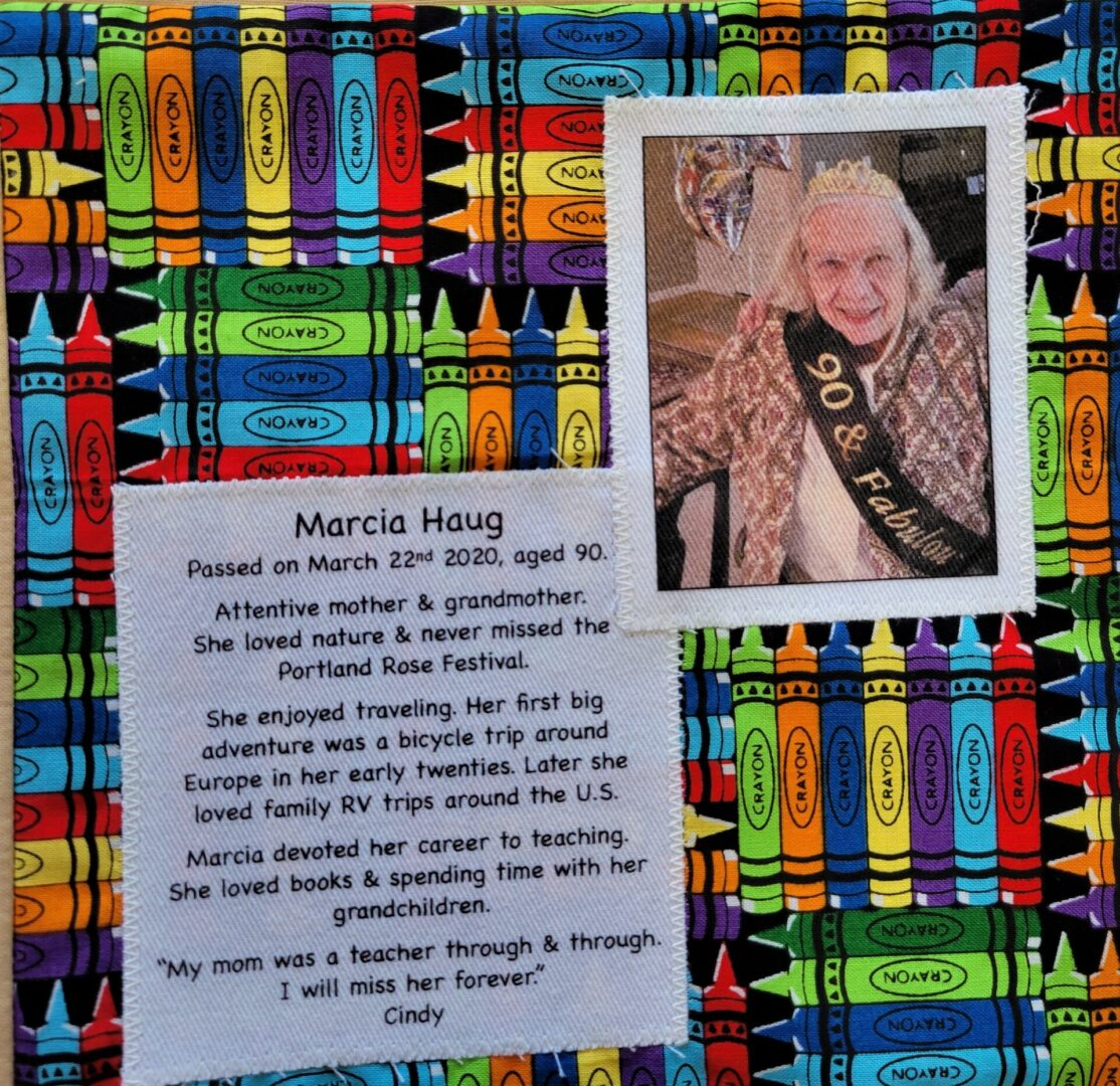 IN MEMORY OF MARCIA HAUG - MARCH 22, 2020
