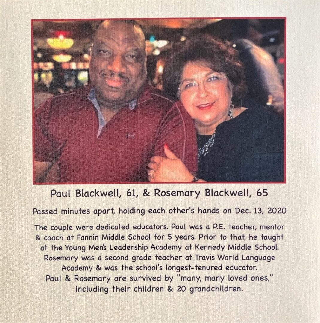 IN MEMORY OF PAUL BLACKWELL & ROSEMARY BLACKWELL - DECEMBER 13, 2020