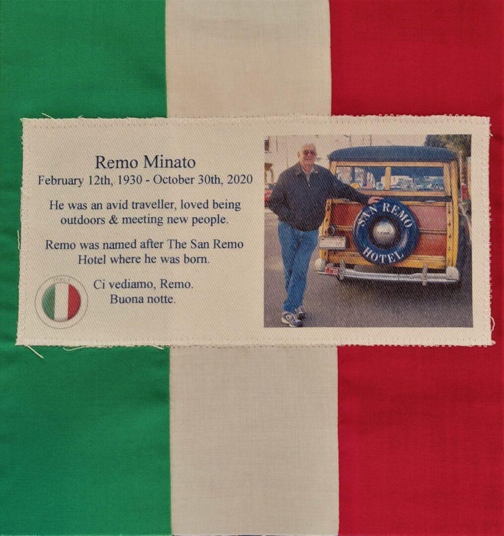 IN MEMORY OF REMO MINATO - FEBRUARY 12, 1930 - OCTOBER 30, 2020