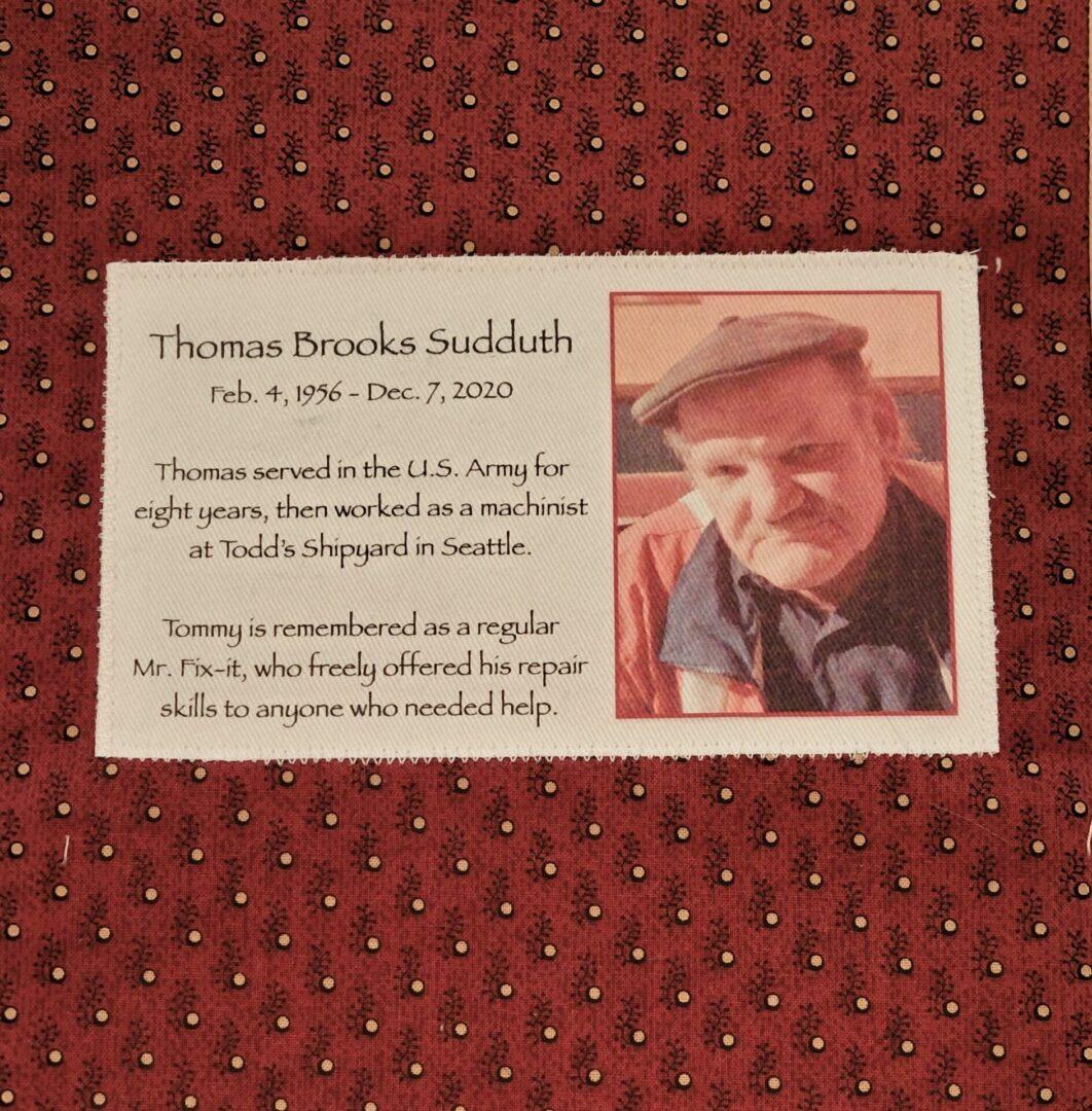 IN MEMORY OF THOMAS BROOKS SUDDUTH - FEB 4, 1956 - DEC 7, 2020
