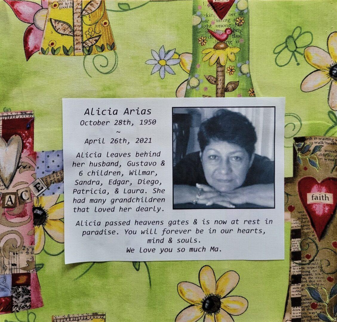 IN MEMORY OF ALICIA ARIAS - OCTOBER 28, 1950 - APRIL 26, 2021