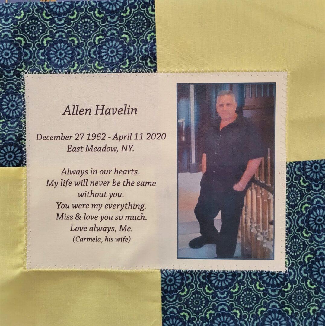 IN MEMORY OF ALLEN HAVELIN - DECEMBER 27, 1962 - APRIL 11, 2020