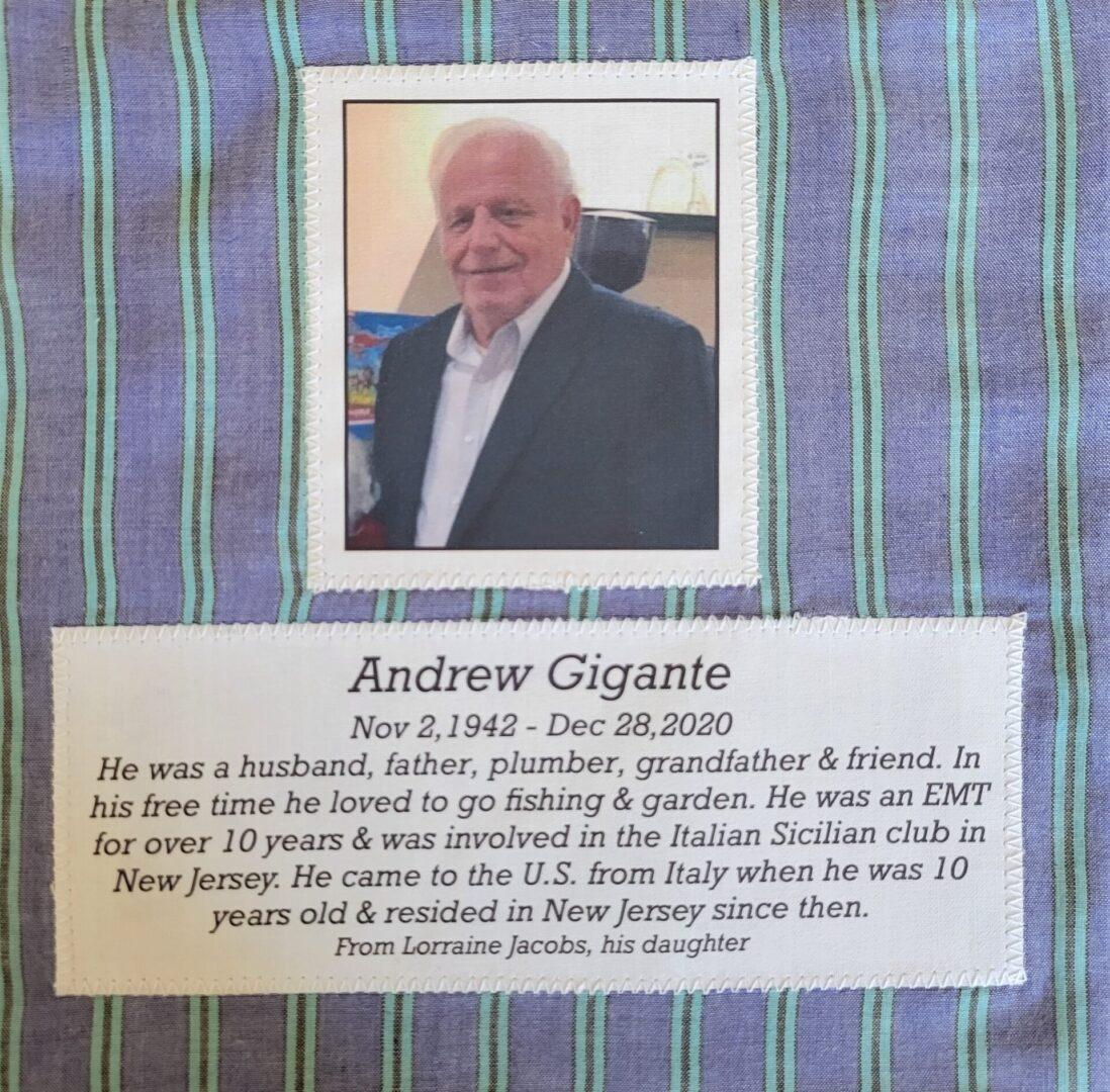 IN MEMORY OF ANDREW GIGANTE - NOVEMBER 2, 1942 - DECEMBER 28, 2020