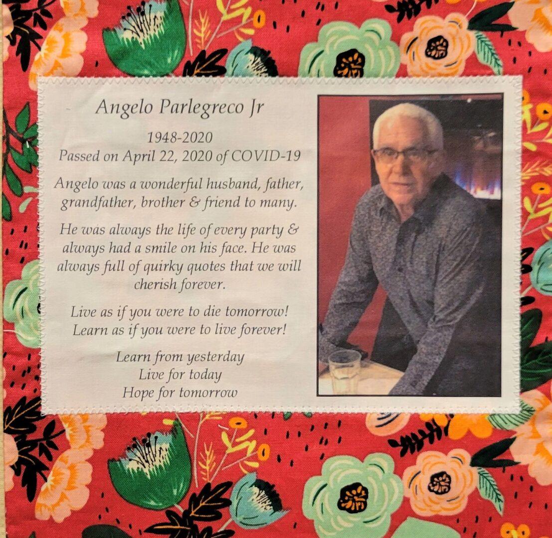 IN MEMORY OF ANGELO PARLEGRECO, JR - 1948 - 2020