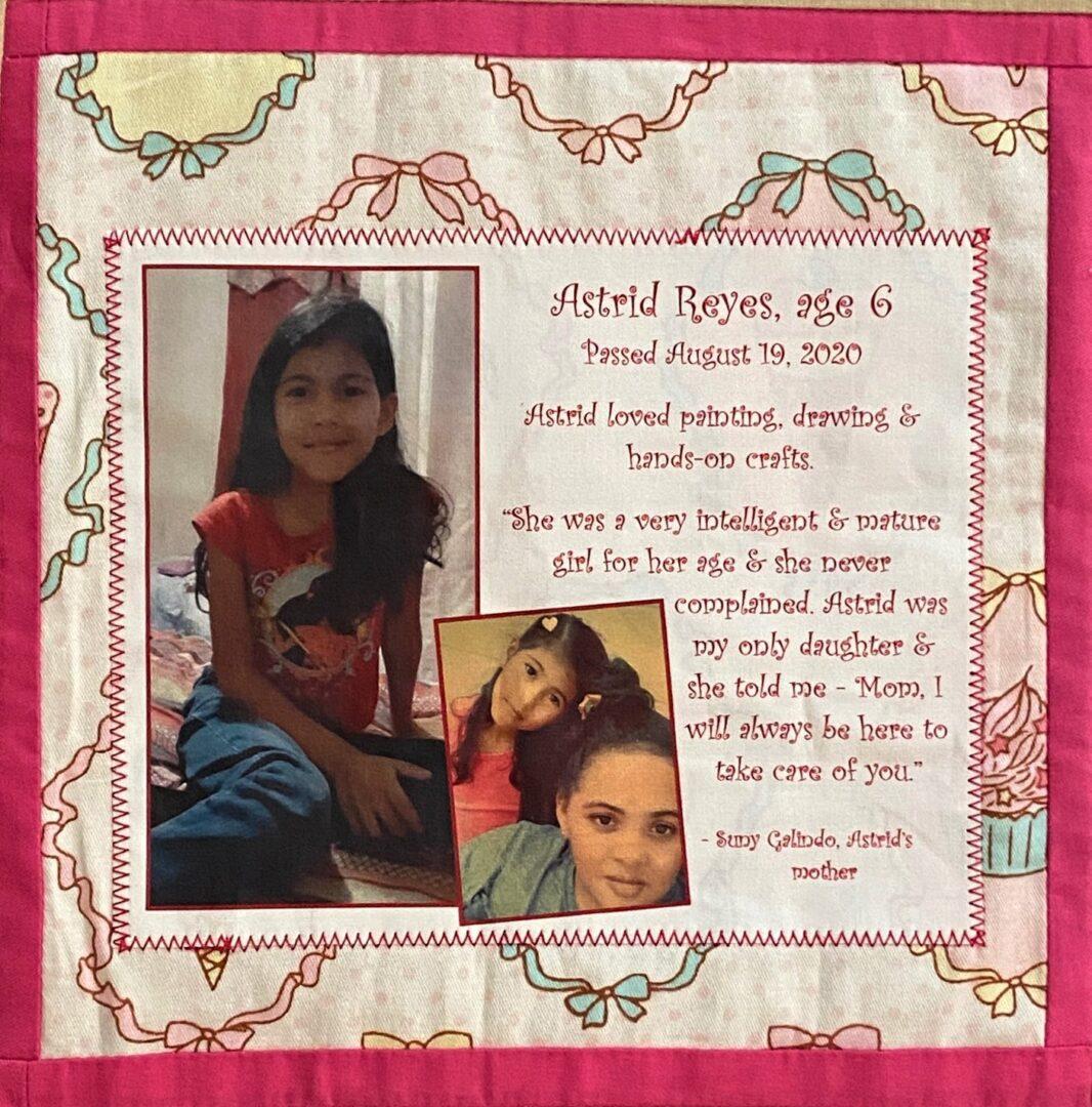 IN MEMORY OF ASTRID REYES - AUGUST 19, 2021, age 6