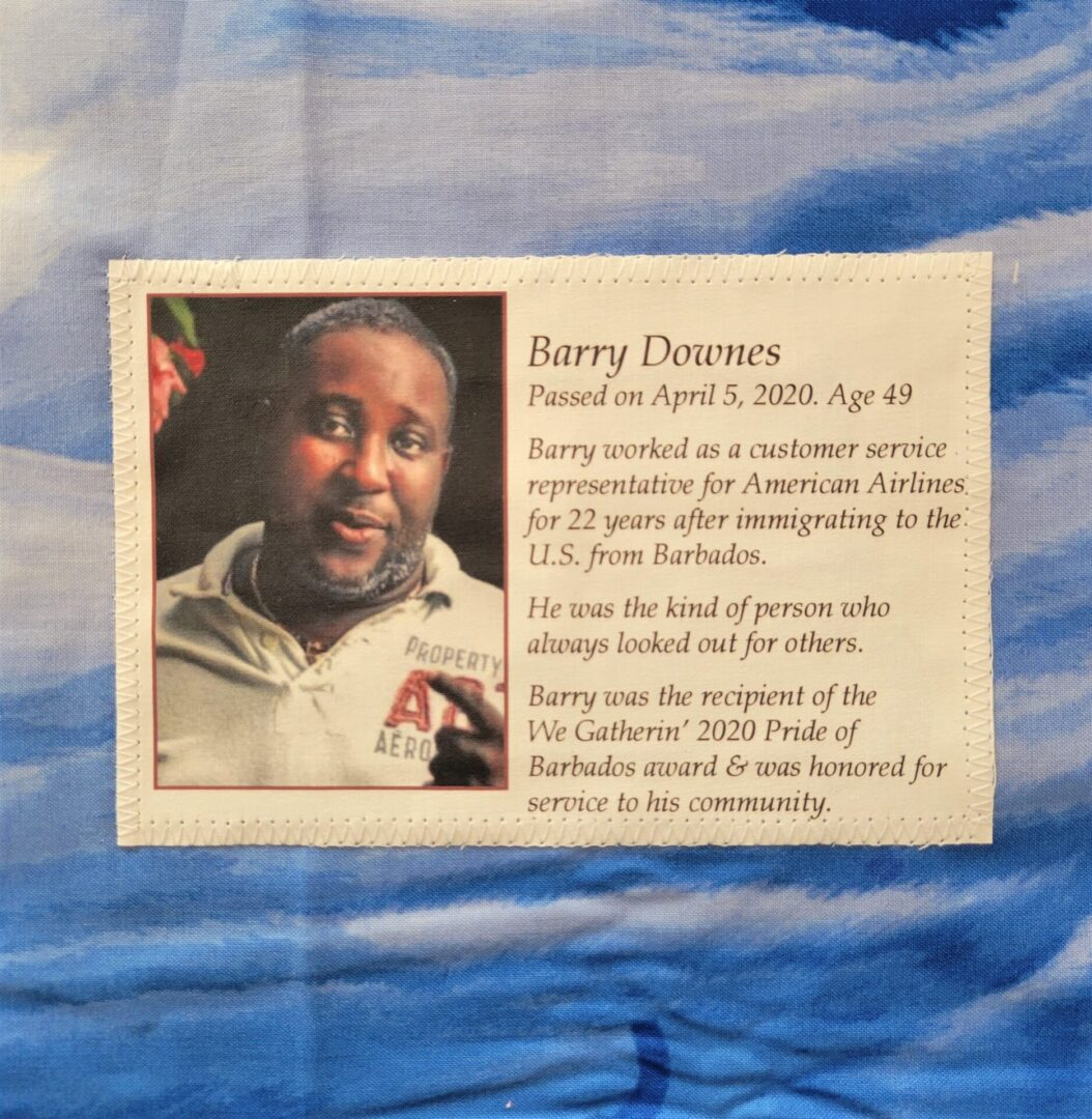 IN MEMORY OF BARRY DOWNES - APRIL 5, 2020