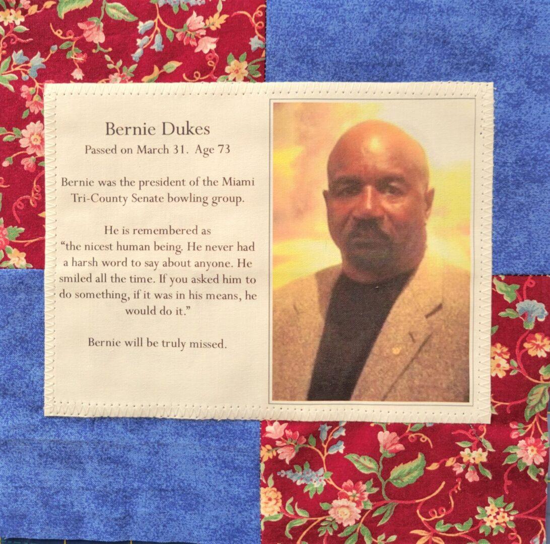 IN MEMORY OF BERNIE DUKES - MARCH 31, 2020