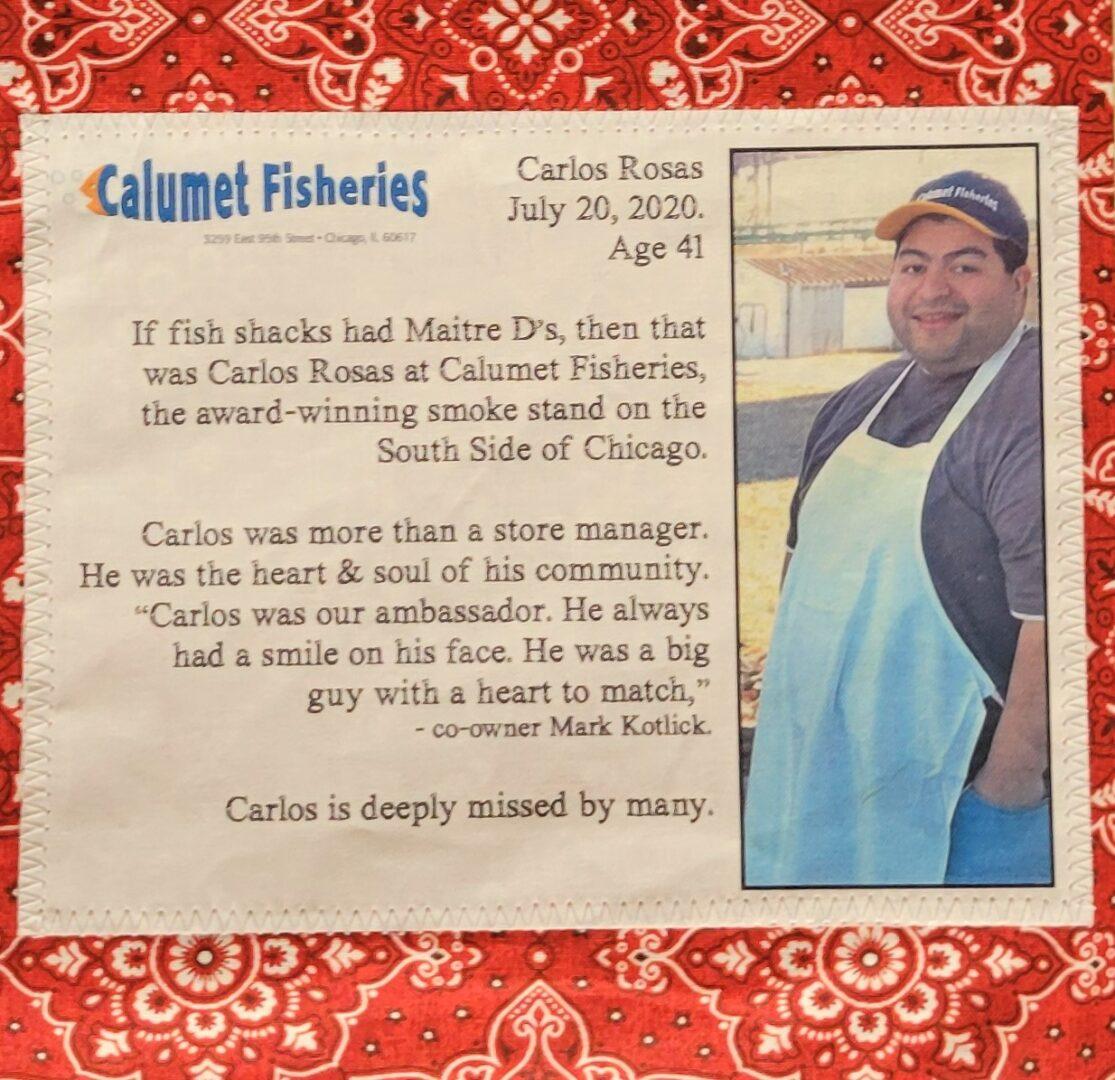 IN MEMORY OF CARLOS ROSAS - JULY 20, 2020