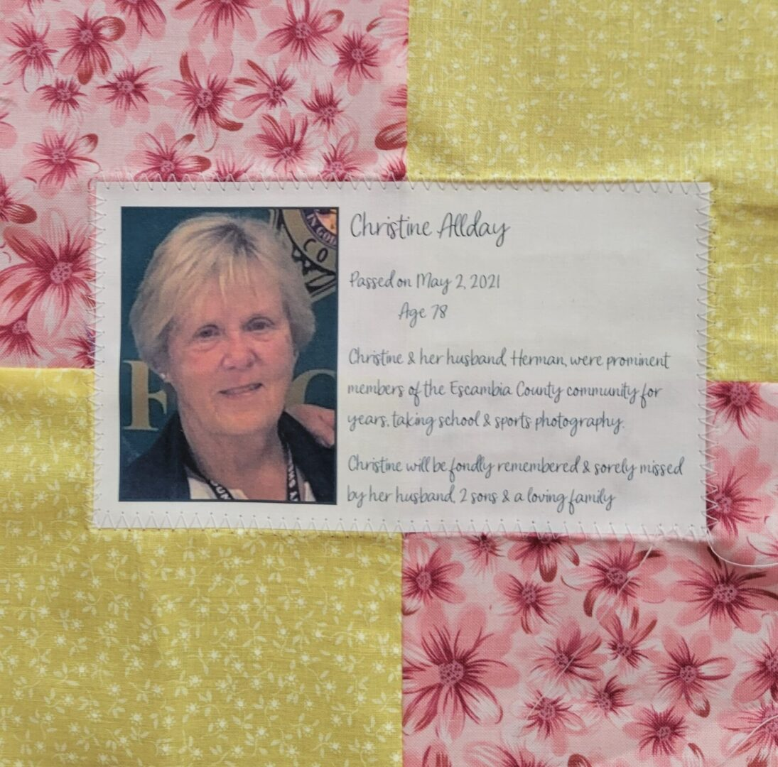 IN MEMORY OF CHRISTINE ALLDAY - MAY 2, 2021