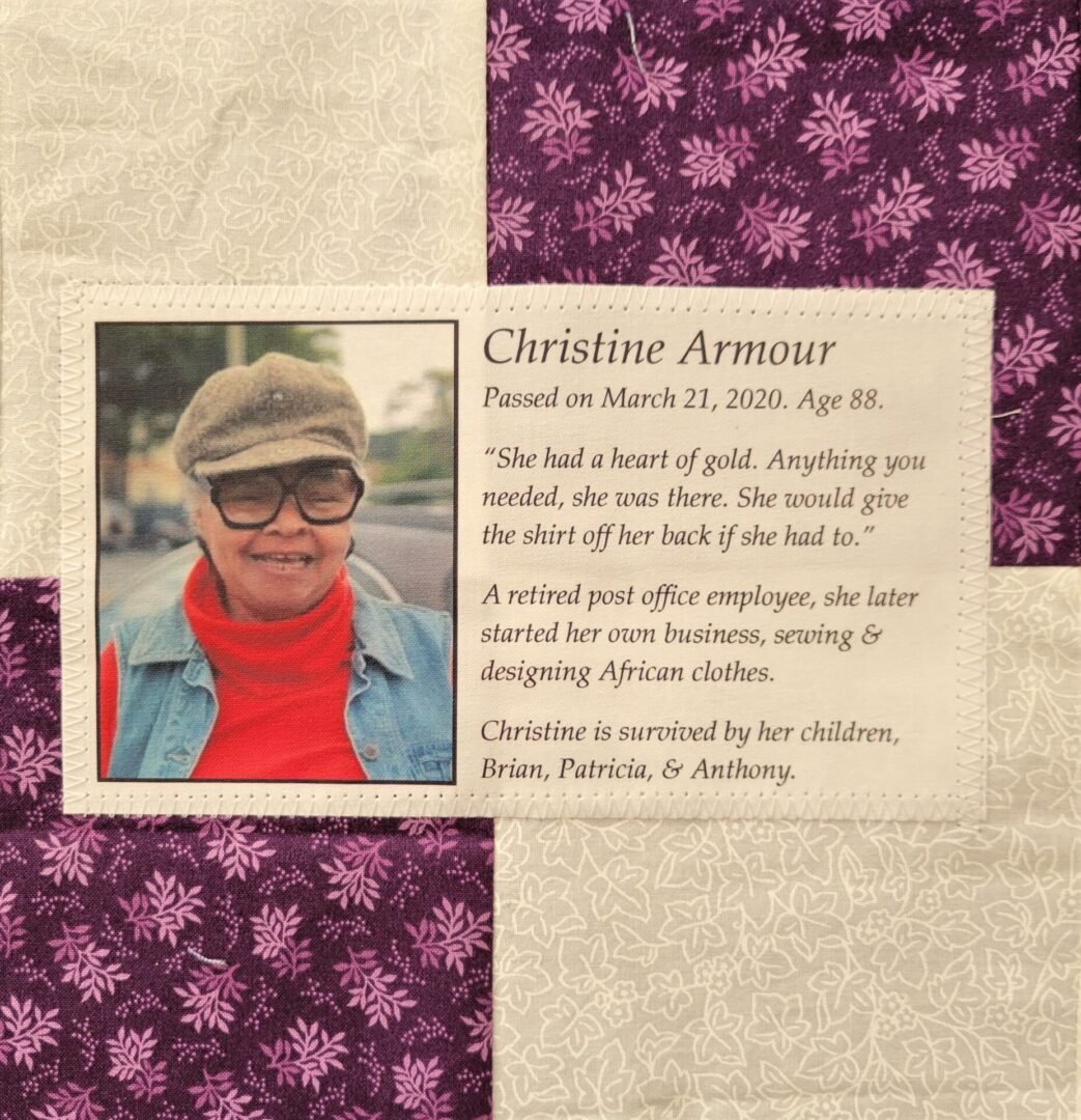 IN MEMORY OF CHRISTINE ARMOUR - MARCH 21, 2020