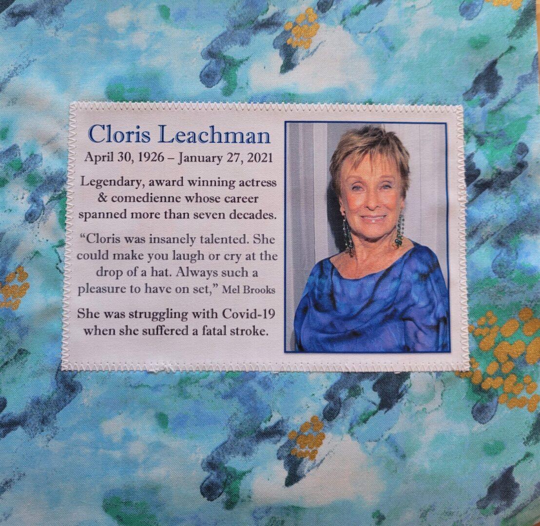 IN MEMORY OF CLORIS LEACHMAN - APRIL 30, 1926 - JANUARY 27, 2021
