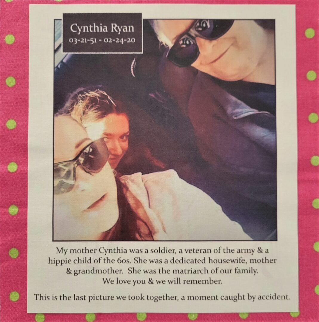 IN MEMORY OF CYNTHIA RYAN - FEBRUARY 24, 2020