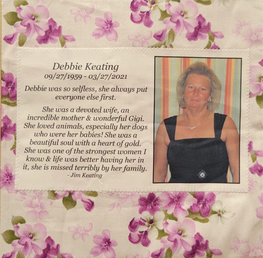 IN MEMORY OF DEBBIE KEATING - 09/27/59 - 03/27/21