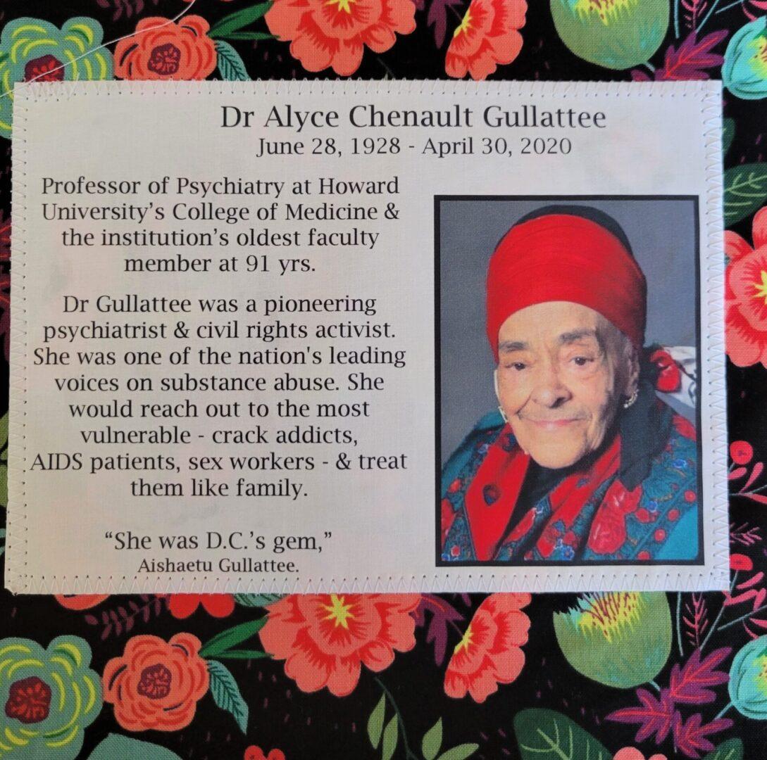 IN MEMORY OF DR. ALYCE CHENAULT GULLATTEE - JUNE 28, 1928 - APRIL 30, 2020