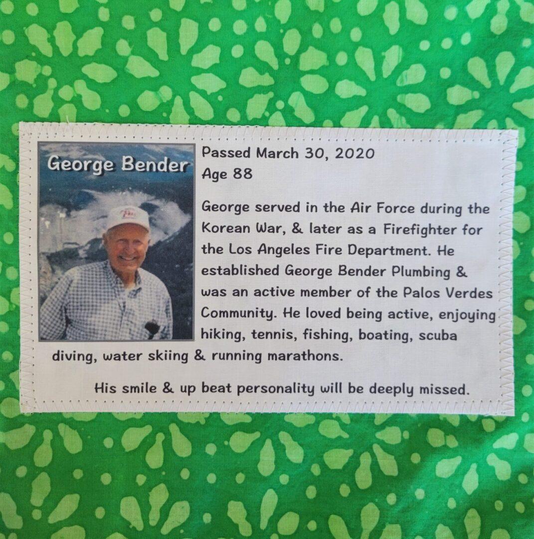 IN MEMORY OF GEORGE BENDER - FEB 22, 1932 - MARCH 30, 2020