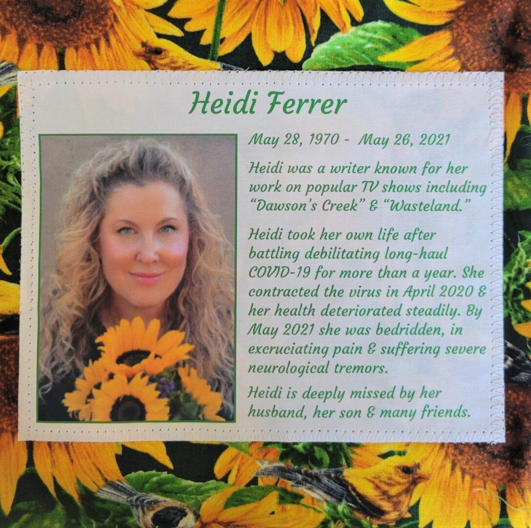 IN MEMORY OF HEIDI FERRER - 1970 - 2021