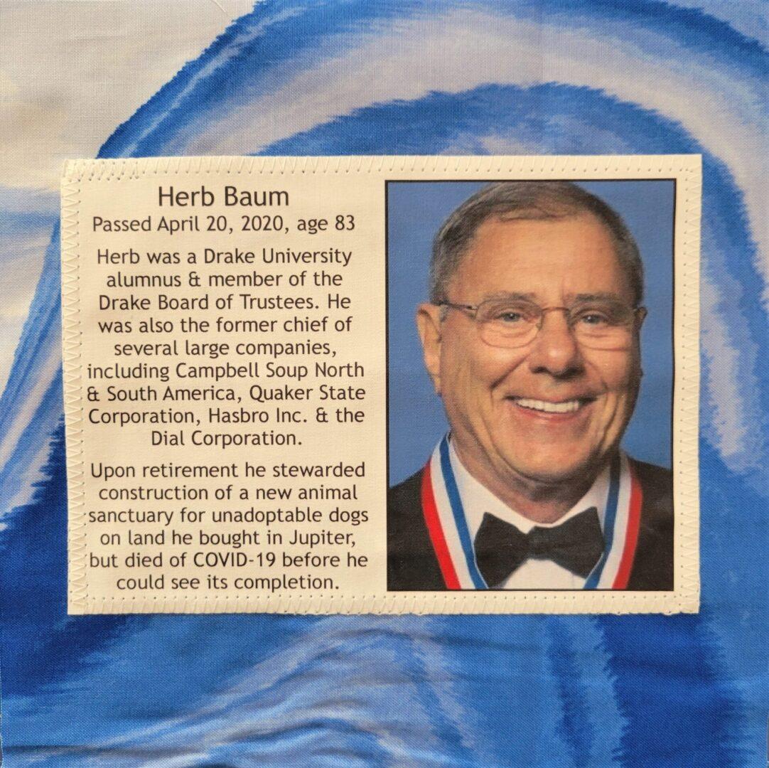 IN MEMORY OF HERB BAUM - APRIL 20, 2020
