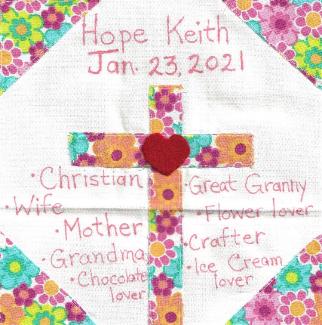 IN MEMORY OF HOPE KEITH - JAN 23, 2021